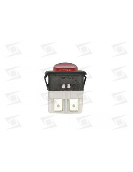 Interruptor Rojo Tecla Redonda 230v 25x25mm 16a