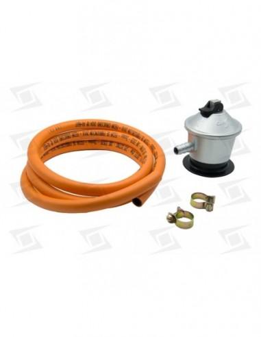 Kit Regulador  Gas + Tubo 1.5 Mts + Abrazaderas Gas Butano.