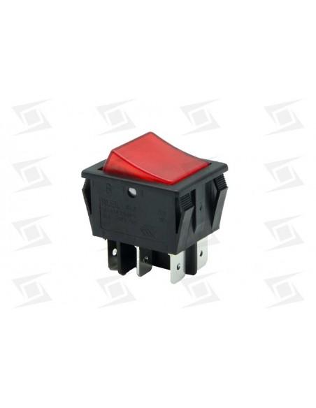 Conmutador Bipolar Rojo 30x22mm 230v  6 Terminales